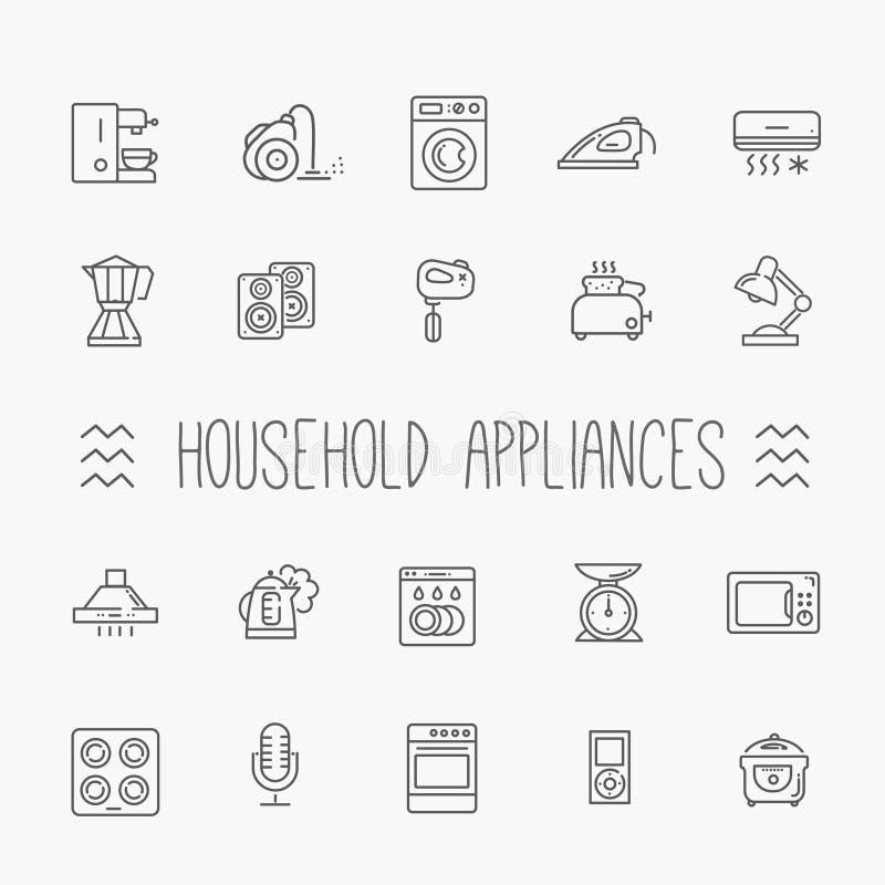 Συλλογή εικονιδίων περιλήψεων - οικιακές συσκευές διανυσματική απεικόνιση