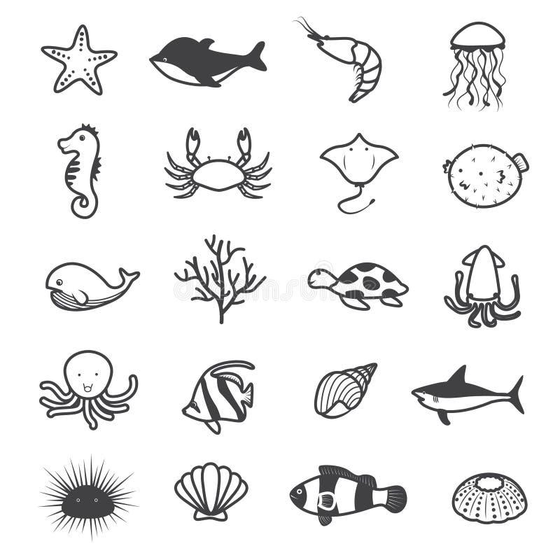 Συλλογή εικονιδίων πλασμάτων θάλασσας κινούμενων σχεδίων απεικόνιση αποθεμάτων