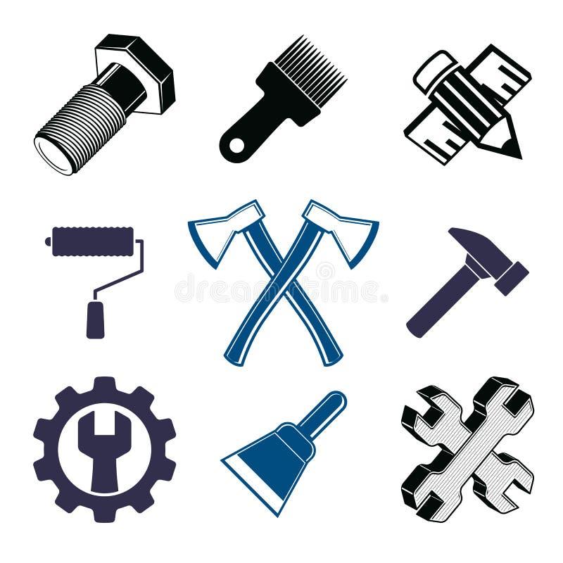 Συλλογή εργαλείων εργασίας, όργανα επισκευής για την ξυλουργική και το manu διανυσματική απεικόνιση