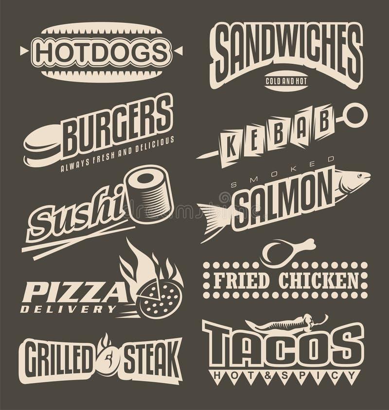 Συλλογή ετικετών επιλογών γρήγορου φαγητού Αναδρομικά στοιχεία σχεδίου για τις επιλογές εστιατορίων απεικόνιση αποθεμάτων