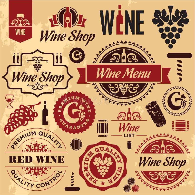 Συλλογή ετικετών κρασιού διανυσματική απεικόνιση