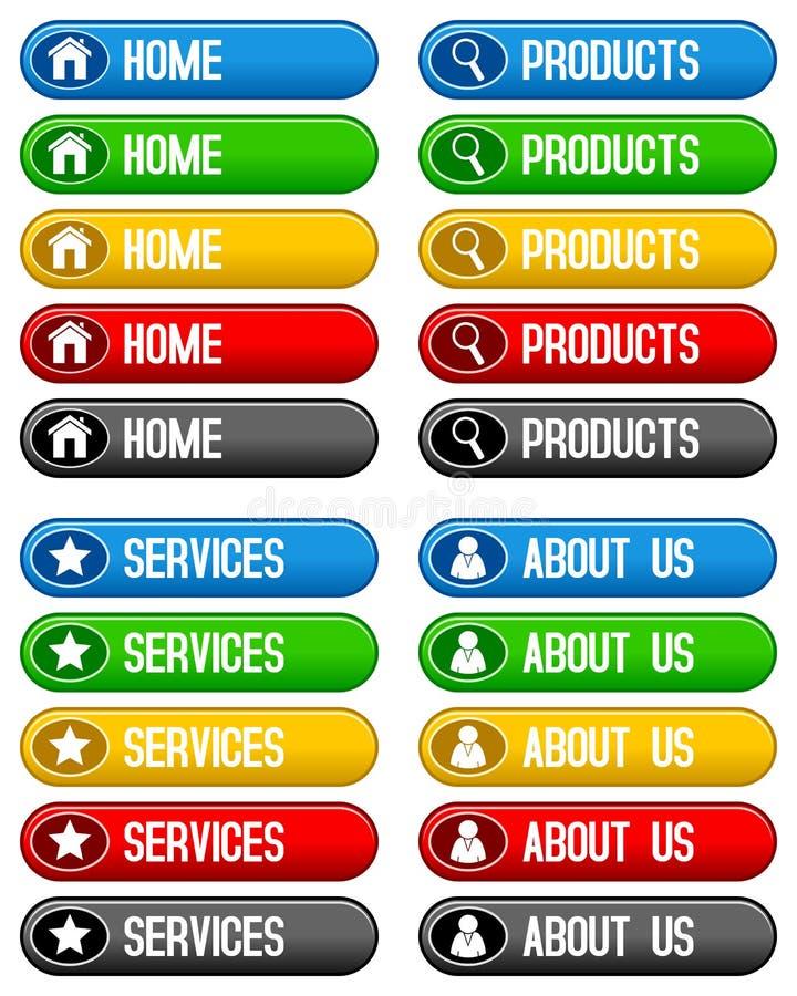 Κουμπιά υπηρεσιών εγχώριων προϊόντων απεικόνιση αποθεμάτων