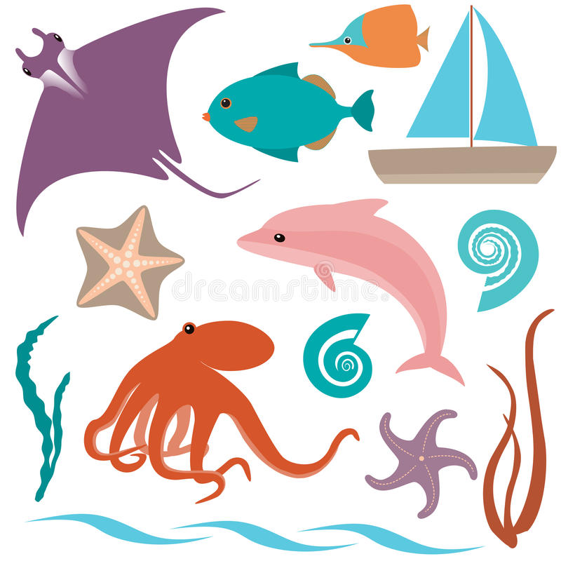 Συλλογή ζώων θάλασσας απεικόνιση αποθεμάτων