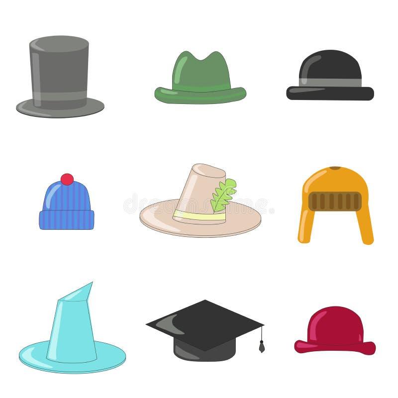 Συλλογή καπέλων κινούμενων σχεδίων Συλλογή καπέλων και σφαιριστών, με το καπέλο μάγων διανυσματική απεικόνιση