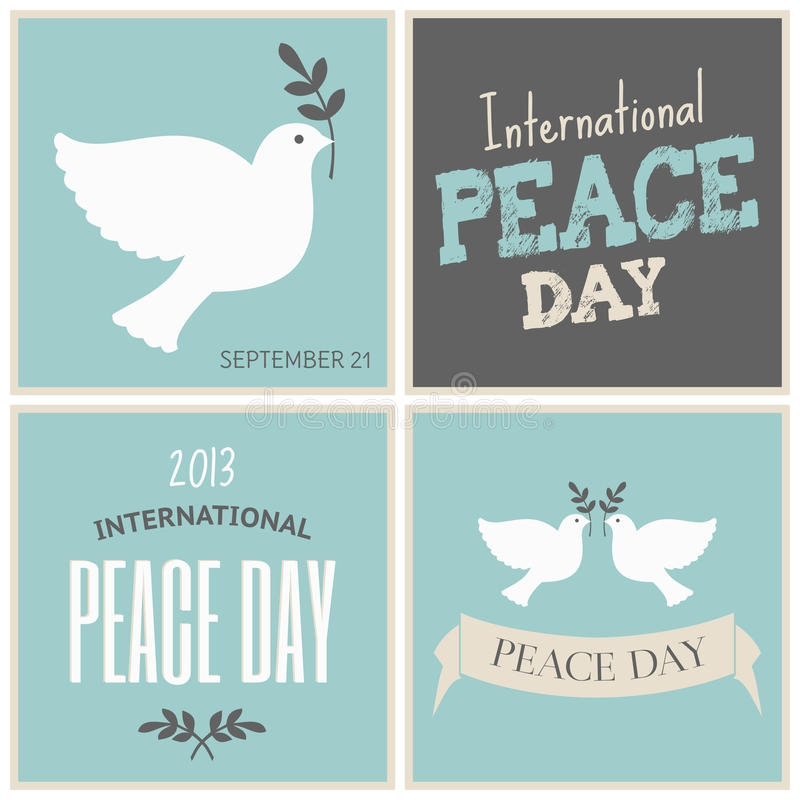 Συλλογή καρτών ημέρας ειρήνης διανυσματική απεικόνιση