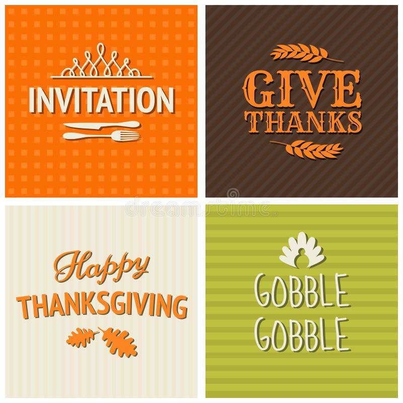 Συλλογή καρτών ημέρας των ευχαριστιών απεικόνιση αποθεμάτων
