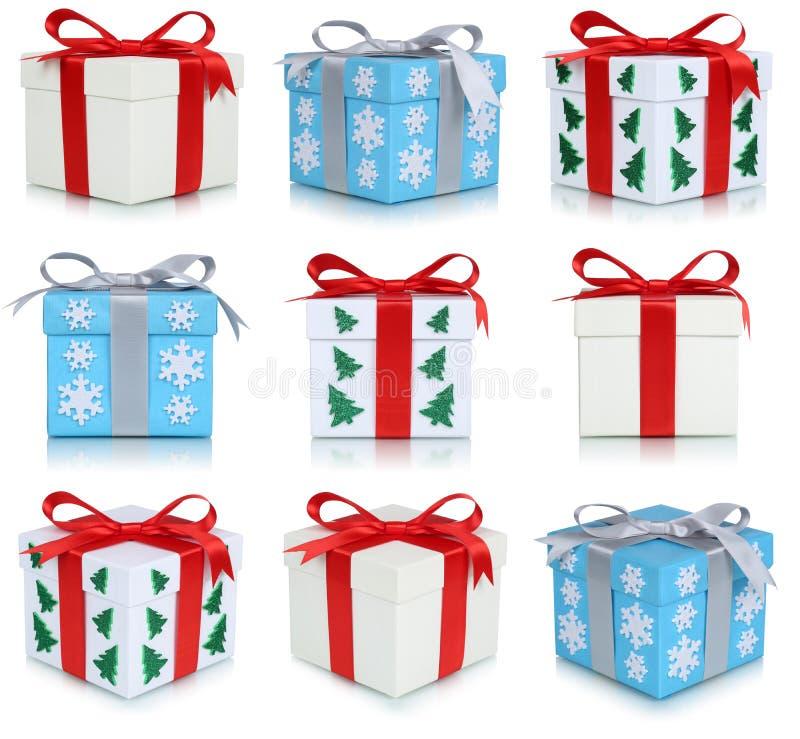 Συλλογή κιβωτίων δώρων Χριστουγέννων των δώρων απεικόνιση αποθεμάτων