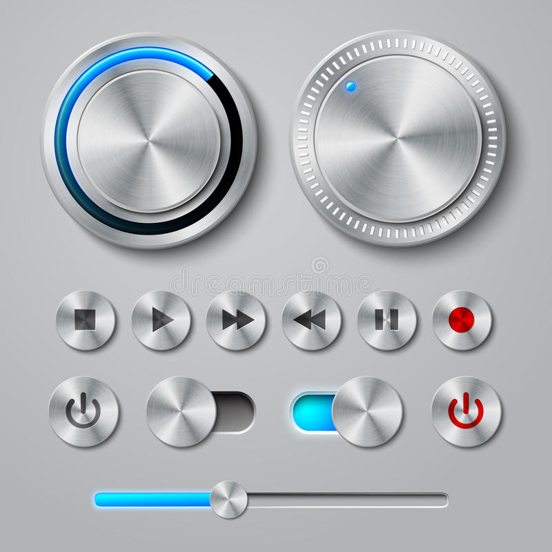 Συλλογή κουμπιών διεπαφών μετάλλων ελεύθερη απεικόνιση δικαιώματος