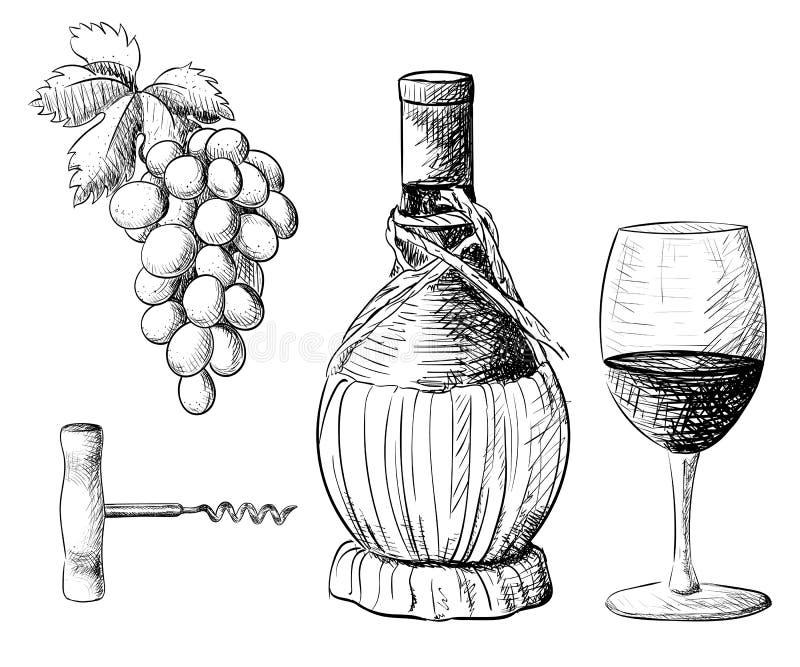 Συλλογή κρασιού Διανυσματική απεικόνιση με το βαρέλι κρασιού, γυαλί κρασιού, σταφύλια, κλαδίσκος σταφυλιών σύρετε το έγγραφο χερι απεικόνιση αποθεμάτων