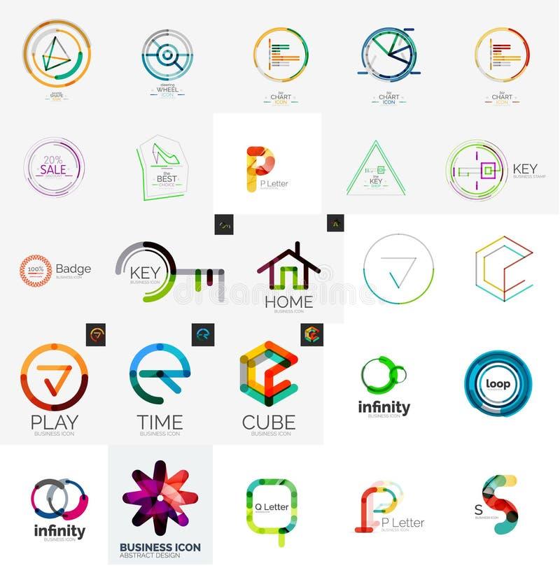 Συλλογή λογότυπων, γεωμετρικό σύνολο επιχειρησιακών εικονιδίων απεικόνιση αποθεμάτων