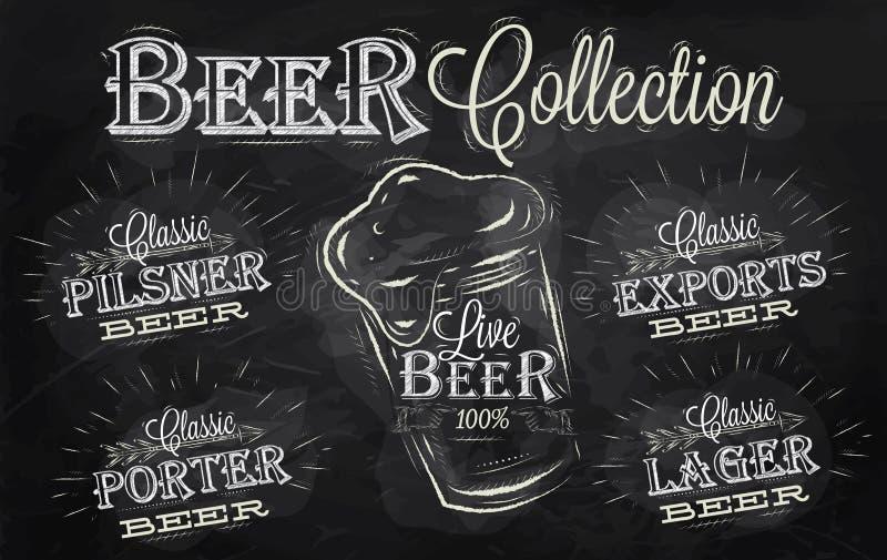 Συλλογή ονομάτων μπύρας. Κιμωλία. ελεύθερη απεικόνιση δικαιώματος