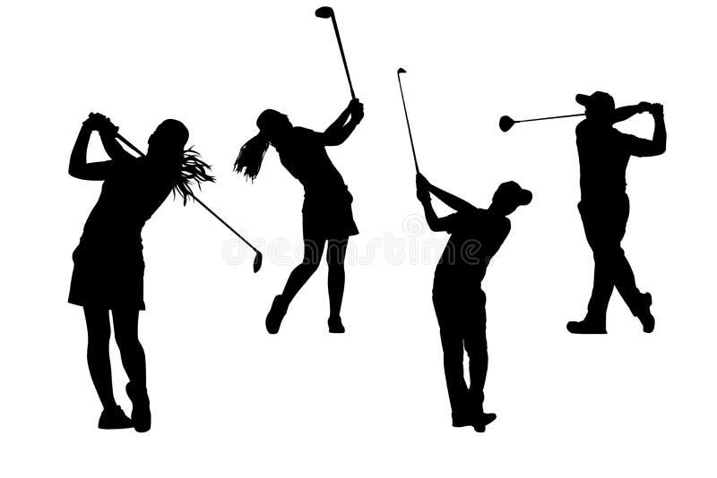 Συλλογή παικτών γκολφ σκιαγραφιών στοκ φωτογραφία