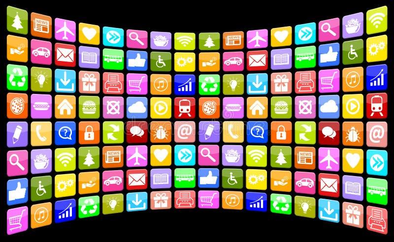 Συλλογή πολυμέσων εικονιδίων εικονιδίων Apps App εφαρμογής για κινητό διανυσματική απεικόνιση