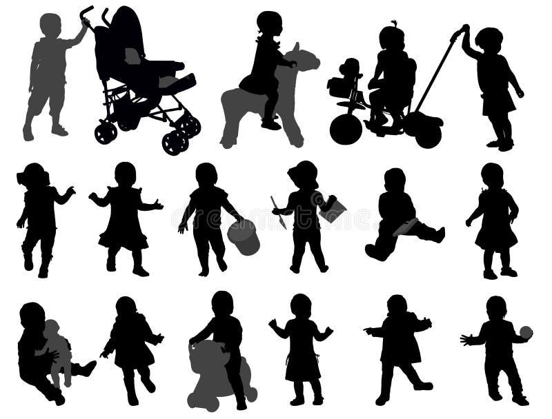 Συλλογή σκιαγραφιών μικρών παιδιών ελεύθερη απεικόνιση δικαιώματος