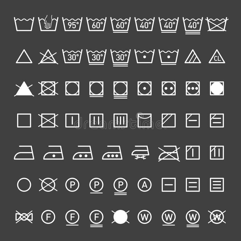 Συλλογή συμβόλων πλυντηρίων ελεύθερη απεικόνιση δικαιώματος