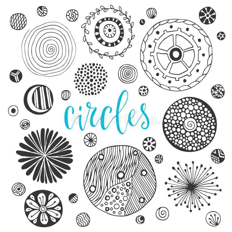Συλλογή συρμένων των χέρι συστάσεων κύκλων διακοσμήσεις επίσης corel σύρετε το διάνυσμα απεικόνισης διανυσματική απεικόνιση