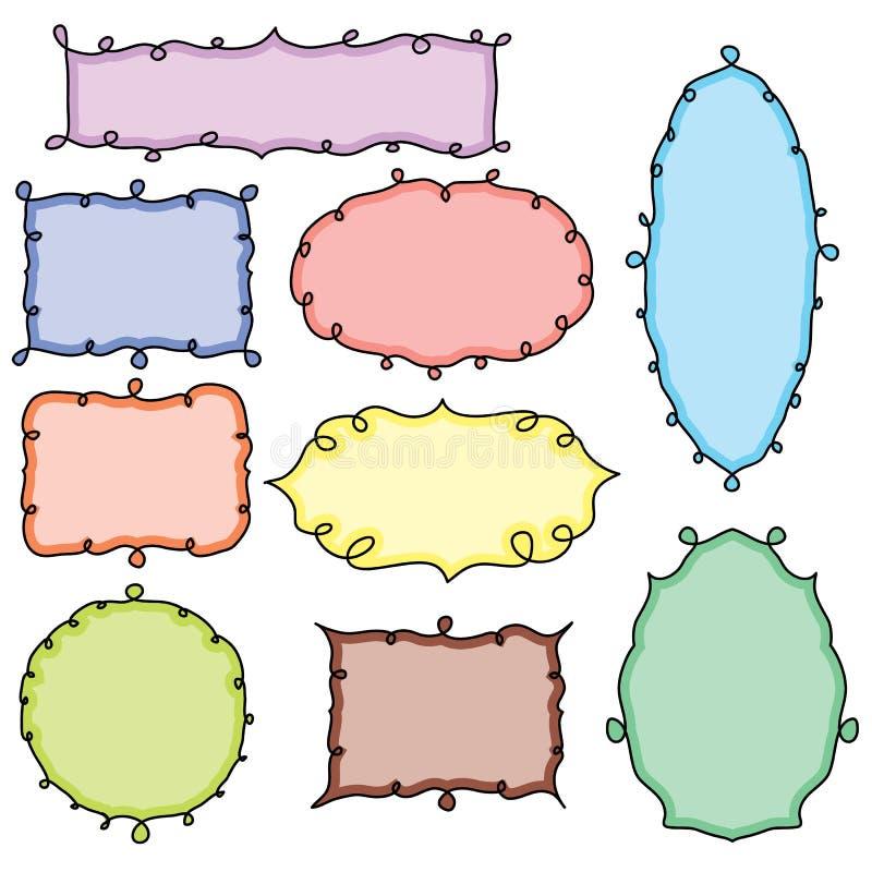 Συλλογή συρμένων των χέρι doodle πλαισίων διανυσματική απεικόνιση