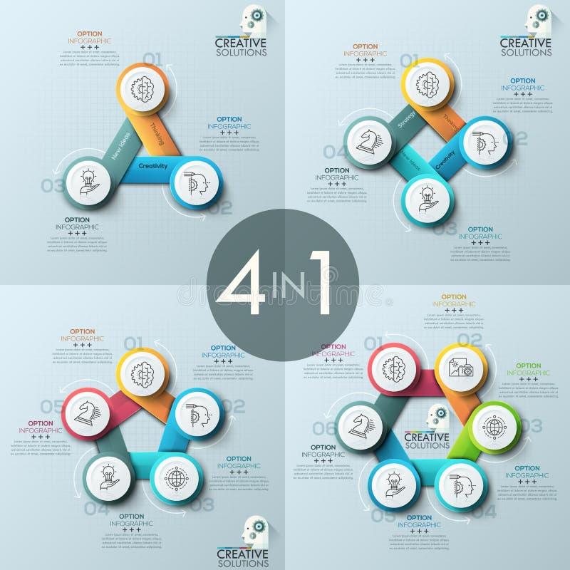 Συλλογή τεσσάρων δημιουργικών infographic σχεδιαγραμμάτων σχεδίου, διαγράμματα με 3, 4, 5, 6 στρογγυλά αριθμημένα στοιχεία απεικόνιση αποθεμάτων