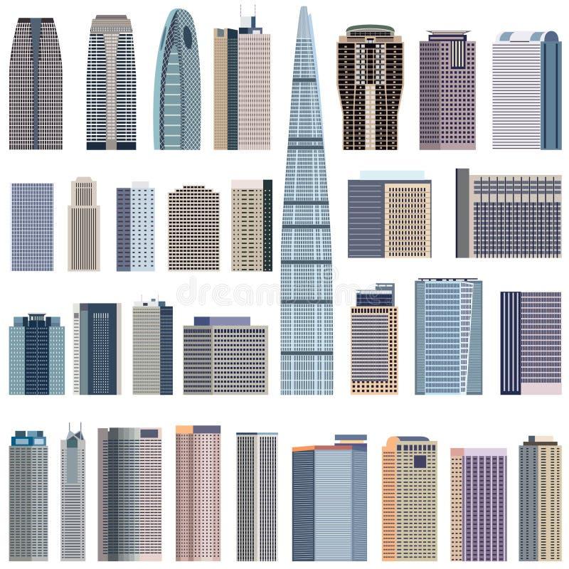 Συλλογή της απομονωμένης διανυσματικής απεικόνισης κτηρίων ελεύθερη απεικόνιση δικαιώματος