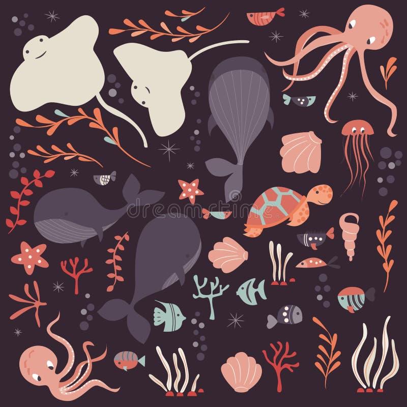 Συλλογή της ζωηρόχρωμης θάλασσας και των ωκεάνιων ζώων, φάλαινα, χταπόδι, stingray, μέδουσα, χελώνα, κοράλλι ελεύθερη απεικόνιση δικαιώματος