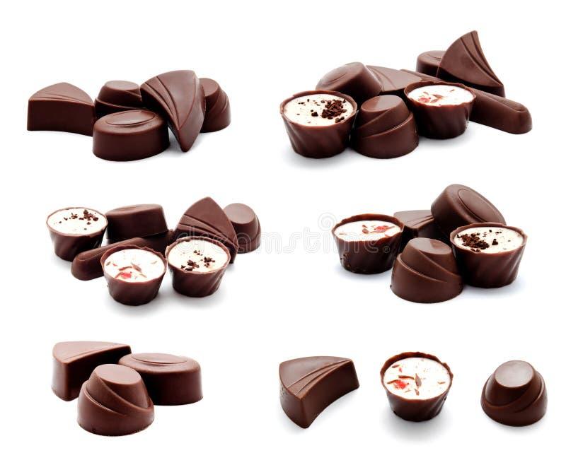 Συλλογή της κατάταξης φωτογραφιών των καραμελών σοκολάτας στοκ εικόνες