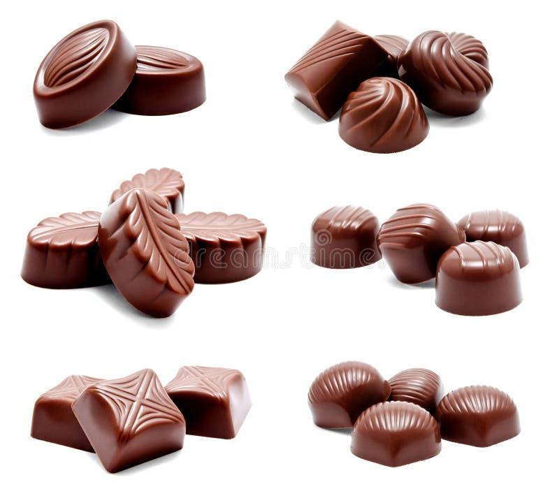 Συλλογή της κατάταξης φωτογραφιών των καραμελών σοκολάτας στοκ φωτογραφίες με δικαίωμα ελεύθερης χρήσης