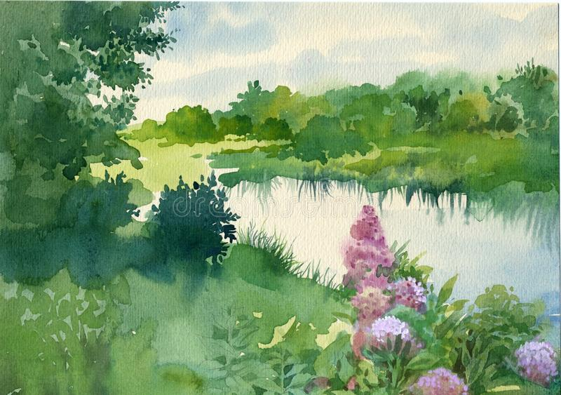Συλλογή τοπίων Watercolor: Κοντά στον ποταμό στοκ φωτογραφία