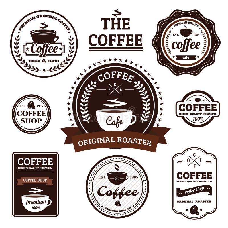 Συλλογή του αναδρομικού σχεδίου ετικετών καφέ στοκ εικόνες με δικαίωμα ελεύθερης χρήσης