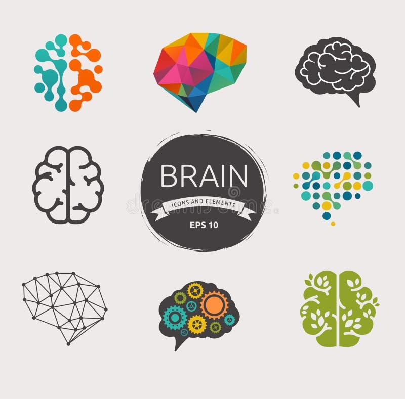 Συλλογή του εγκεφάλου, δημιουργία, εικονίδια ιδέας και ελεύθερη απεικόνιση δικαιώματος