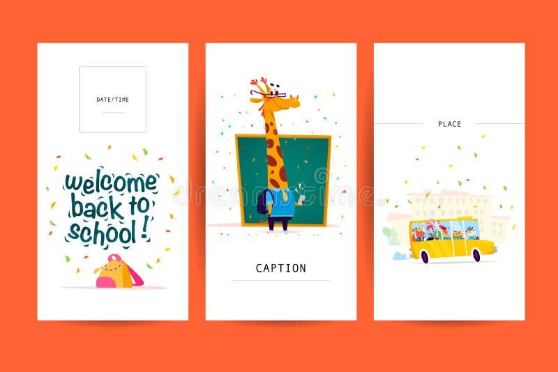Συλλογή του επιπέδου πίσω στα σχέδια σχολικών καρτών με την εγγραφή, τα ζώα και τα άνευ ραφής υπόβαθρα διανυσματική απεικόνιση