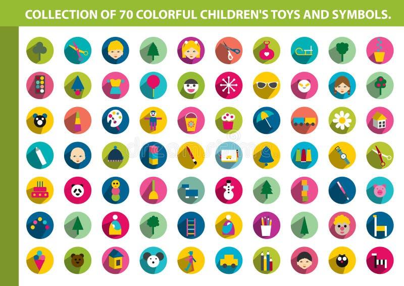 Συλλογή του ζωηρόχρωμου επίπεδου εικονιδίου παιδιών ελεύθερη απεικόνιση δικαιώματος