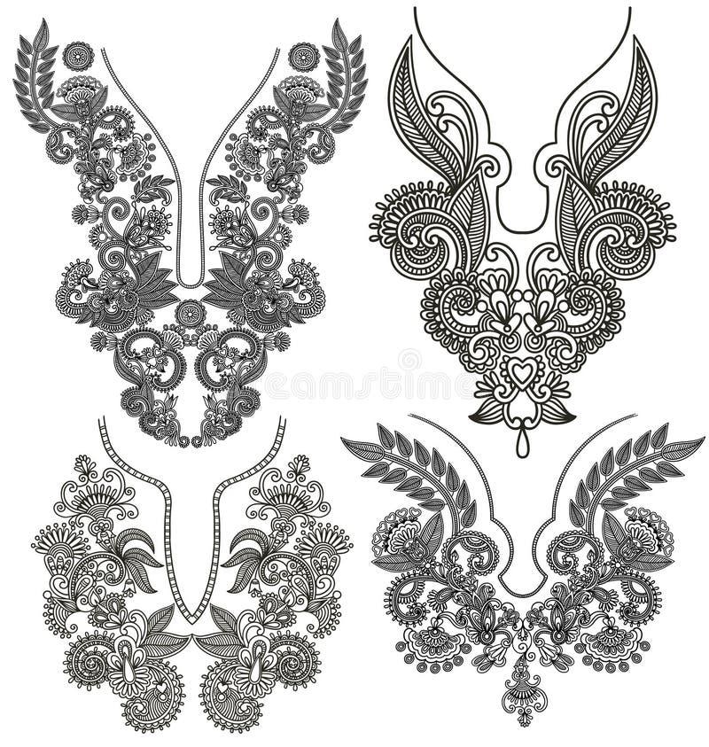 Συλλογή του διακοσμητικού floral neckline ελεύθερη απεικόνιση δικαιώματος