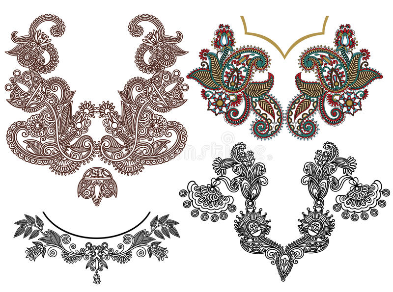Συλλογή του διακοσμητικού floral neckline απεικόνιση αποθεμάτων