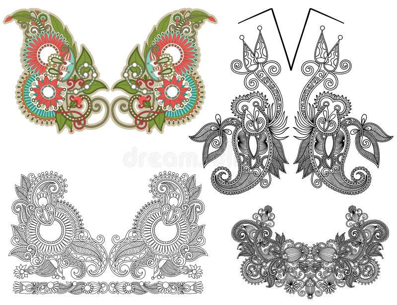 Συλλογή του διακοσμητικού floral neckline διανυσματική απεικόνιση