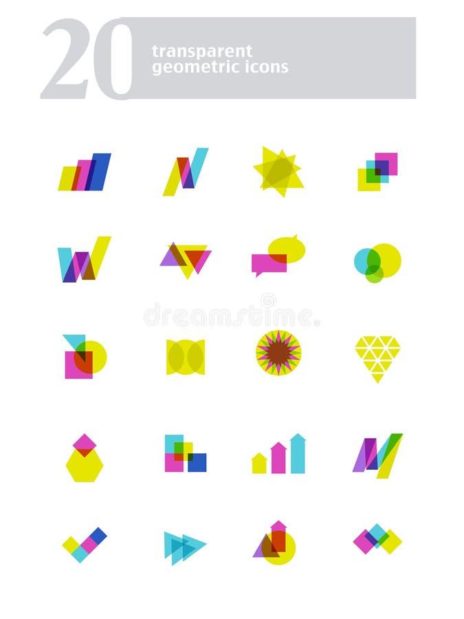 Συλλογή του διανυσματικού αφηρημένου διαφανούς λογότυπου απεικόνιση αποθεμάτων