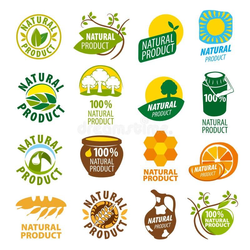 Συλλογή του διανυσματικού φυσικού προϊόντος λογότυπων ελεύθερη απεικόνιση δικαιώματος