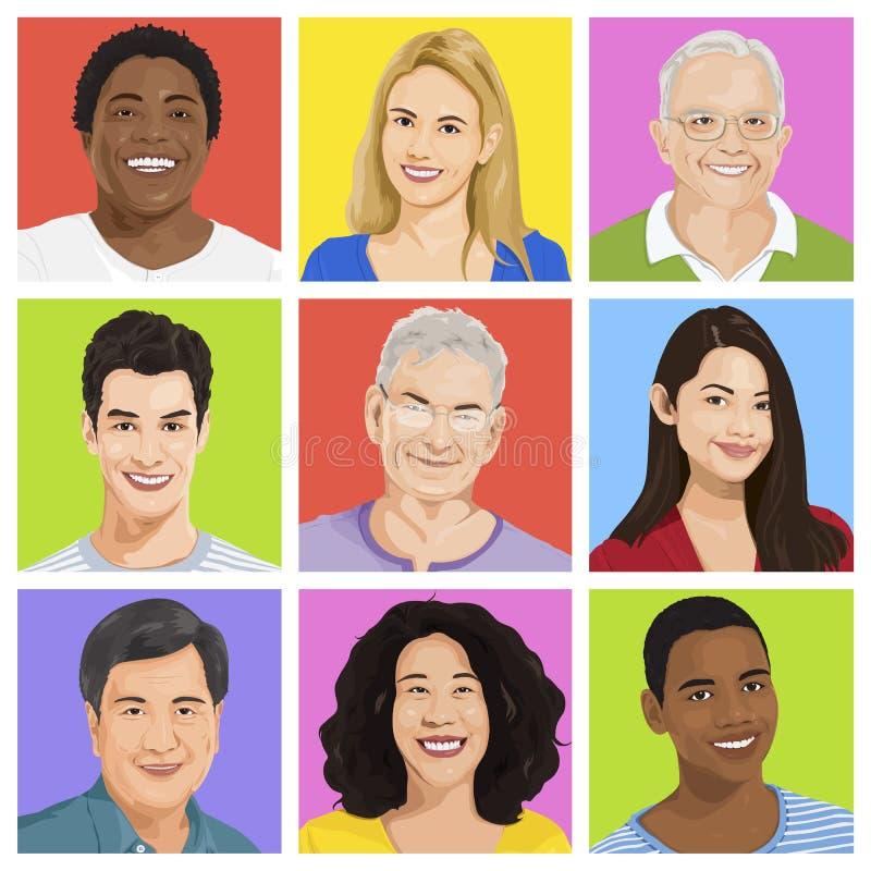 Συλλογή του πολυ-εθνικού διανύσματος ανθρώπων ελεύθερη απεικόνιση δικαιώματος