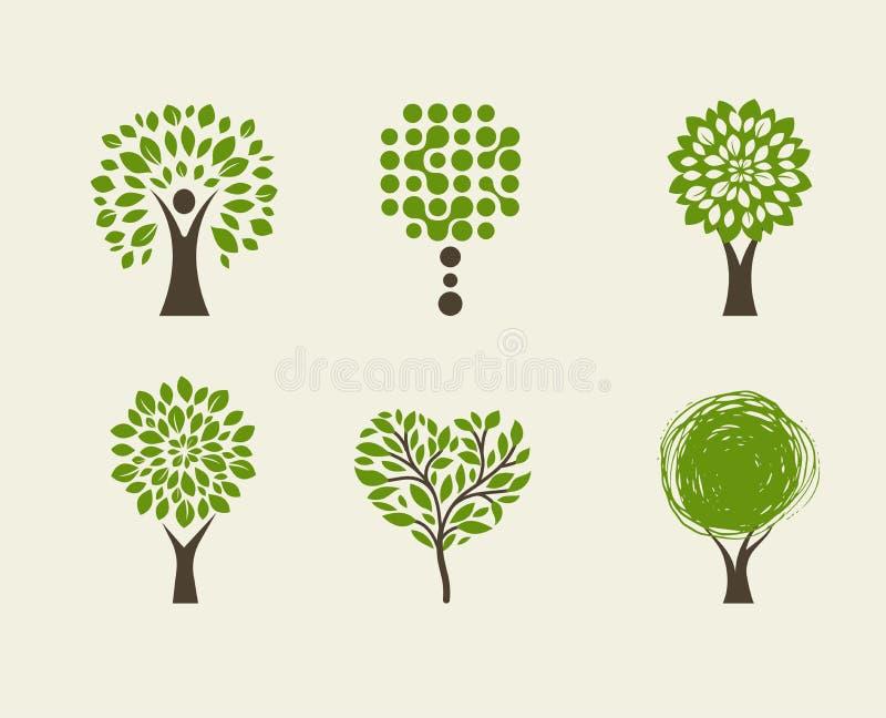 Συλλογή του πράσινου δέντρου - λογότυπα και εικονίδια ελεύθερη απεικόνιση δικαιώματος