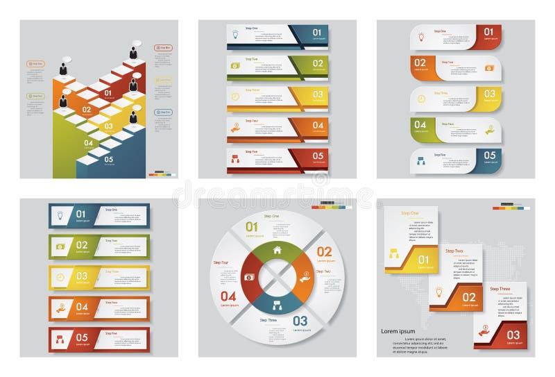 Συλλογή του προτύπου 6 σχεδίου/του γραφικού ή σχεδιαγράμματος ιστοχώρου Διανυσματική ανασκόπηση ελεύθερη απεικόνιση δικαιώματος