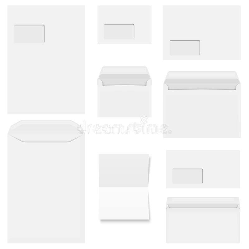 Συλλογή των άσπρων φακέλων με το έγγραφο αντιγράφων απεικόνιση αποθεμάτων