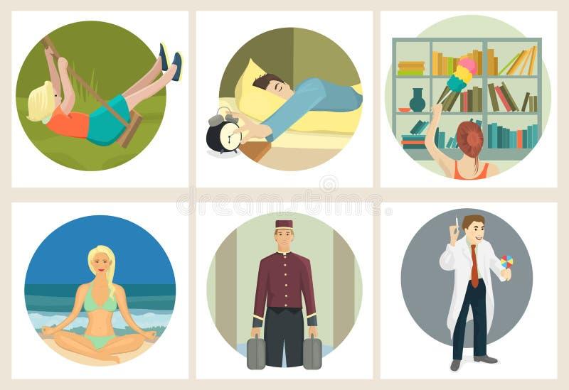 Συλλογή των ανθρώπων στις διαφορετικές καταστάσεις στο επίπεδο σχέδιο διανυσματική απεικόνιση