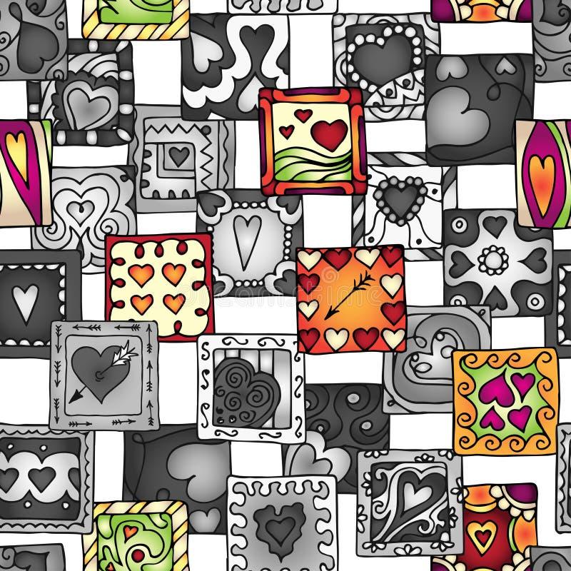 Συλλογή των αρχικών καρδιών σχεδίων doodle απεικόνιση αποθεμάτων