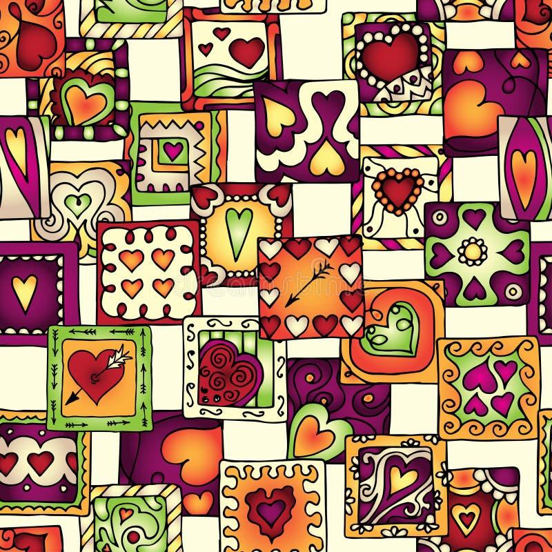 Συλλογή των αρχικών καρδιών σχεδίων doodle διανυσματική απεικόνιση
