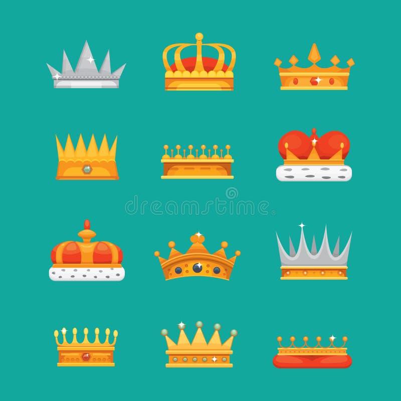Συλλογή των βραβείων εικονιδίων κορωνών για τους νικητές, πρωτοπόροι, ηγεσία Βασιλικός βασιλιάς, βασίλισσα, κορώνες πριγκηπισσών απεικόνιση αποθεμάτων