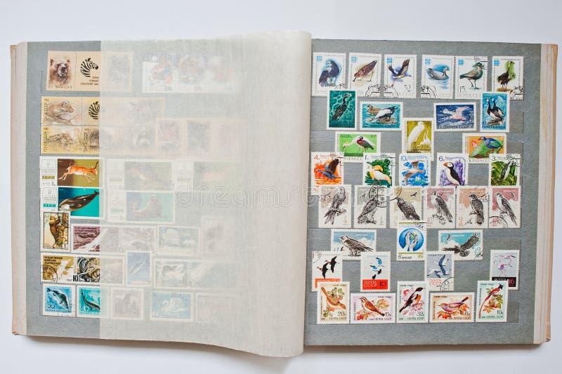 Συλλογή των γραμματοσήμων στο λεύκωμα που τυπώνεται από την ΕΣΣΔ στοκ φωτογραφίες με δικαίωμα ελεύθερης χρήσης