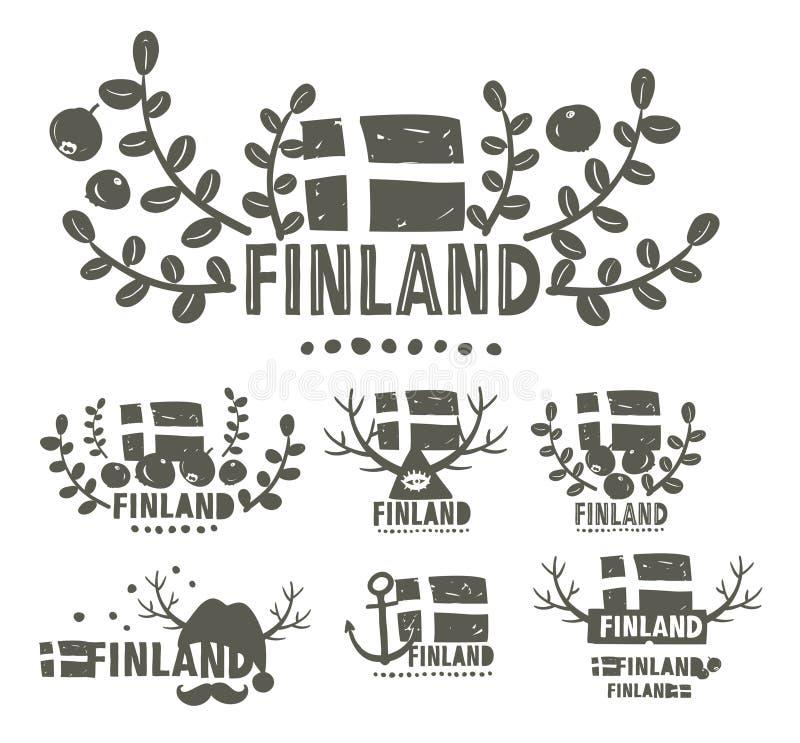 Συλλογή των γραπτών ετικετών της Φινλανδίας διανυσματική απεικόνιση