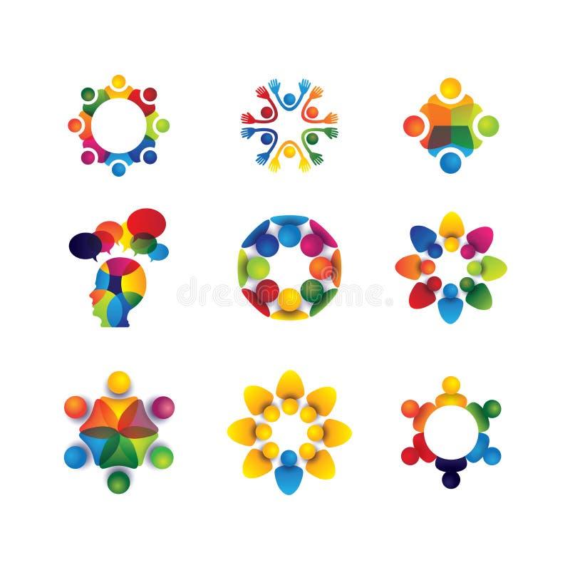 Συλλογή των εικονιδίων ανθρώπων στον κύκλο - διανυσματική ενότητα έννοιας, κολλοειδές διάλυμα απεικόνιση αποθεμάτων