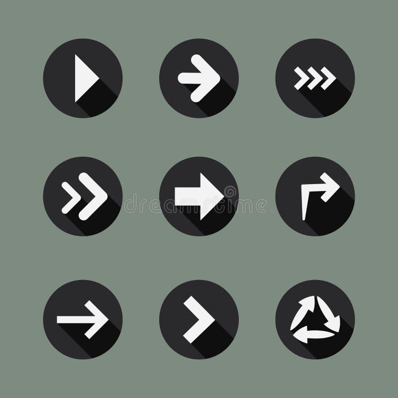 Συλλογή των εικονιδίων βελών διανυσματική απεικόνιση
