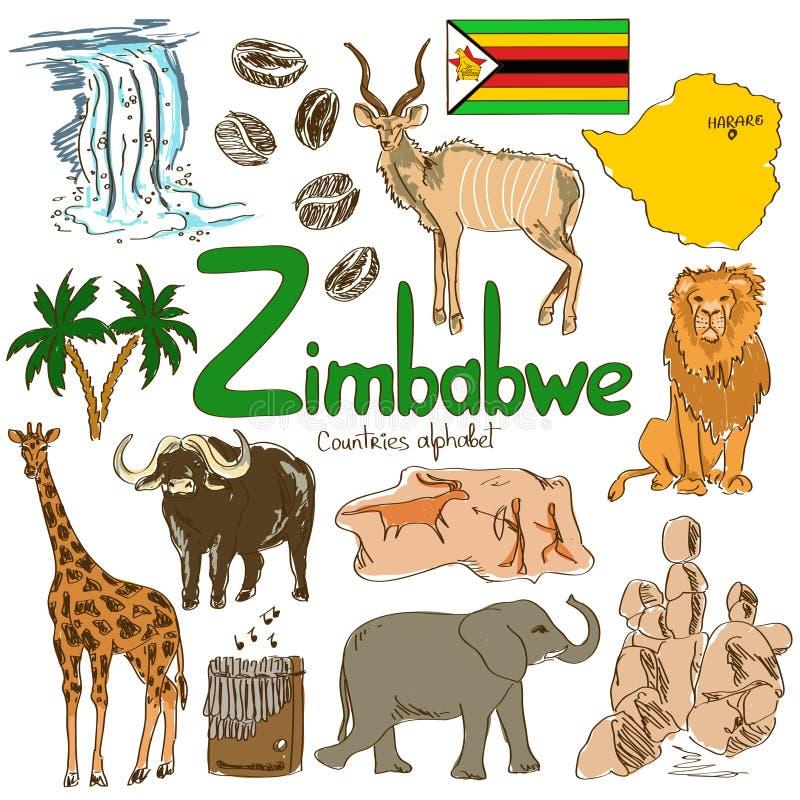 Συλλογή των εικονιδίων της Ζιμπάμπουε απεικόνιση αποθεμάτων