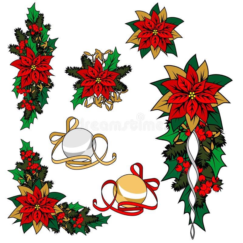Συλλογή των εικόνων Χριστουγέννων Διακόσμηση Χριστουγέννων, λουλούδι, διακοσμήσεις απεικόνιση αποθεμάτων